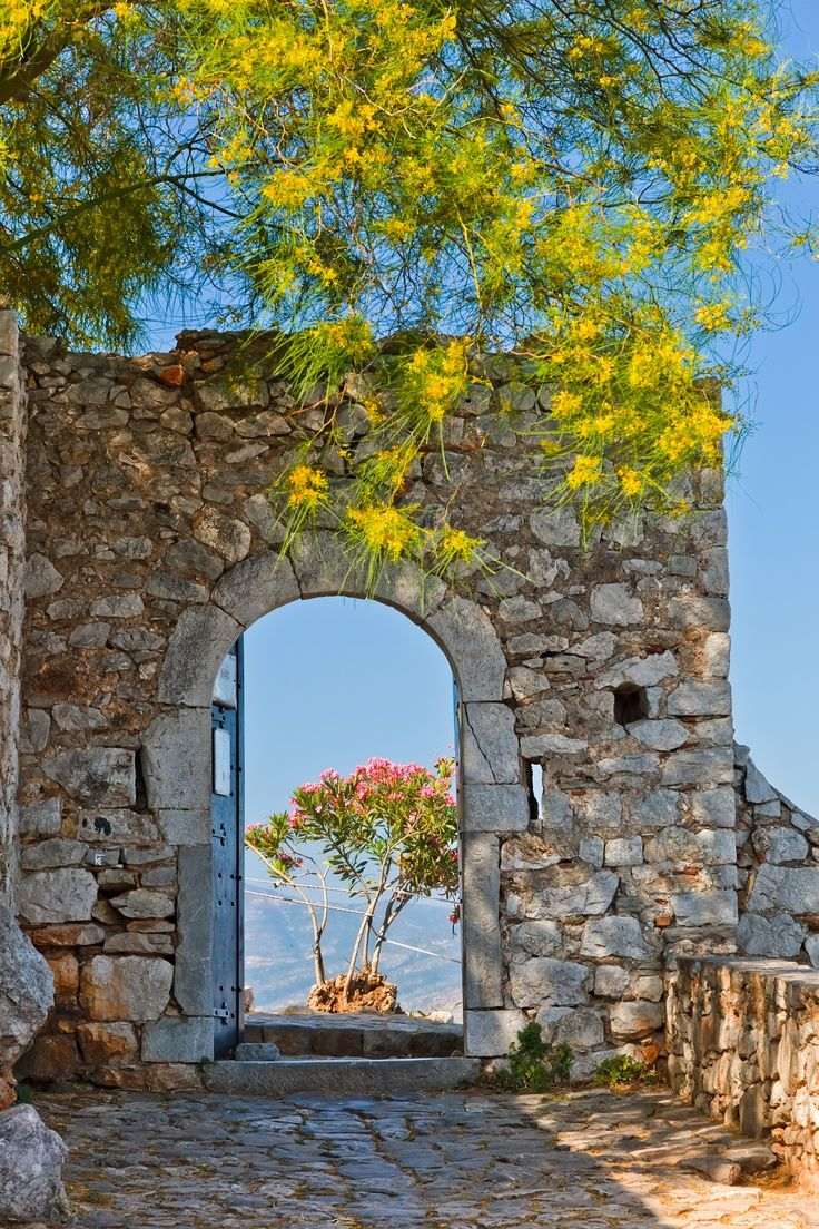 gate in palamidi fortress nafplio greece