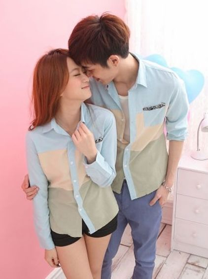 Stunning Look Color Collision Patchwork Pocket Lapel Couple Shirts