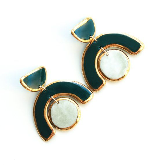 Sterling silver studs Purple and marble green earrings hand painted with gold Surprisingly lightweight earrings. Porcelain earrings