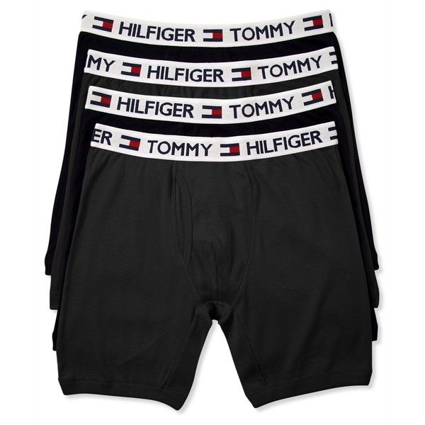 Tommy Hilfiger Men's Underwear, Cotton Boxer Brief 4-Pack ($30) ❤ liked on Polyvore featuring men's fashion, men's clothing, men's underwear, black, men's boxer briefs, mens underwear boxer briefs and mens cotton boxer briefs