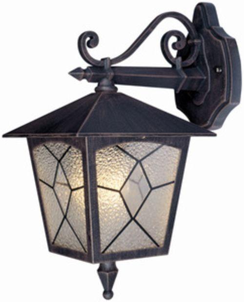 Lanterna corpo in alluminio colore bronzo anticato lampada 60W