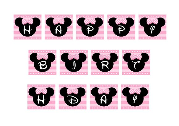 free minnie mouse printables   FREE PINK Minnie Mouse Birthday Party Printables from Printabelle ...