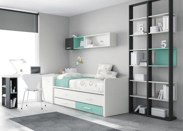 Kids Touch 21 Habitación juvenil Juvenil Camas Compactas y Nidos Cama compacta con cajones, cama, escritorio y estanterías.