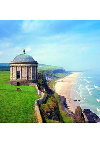 The Cliff Top Temple, perched on a cliff top amid the wild coastal headland of County Londonderry, Northern Island.