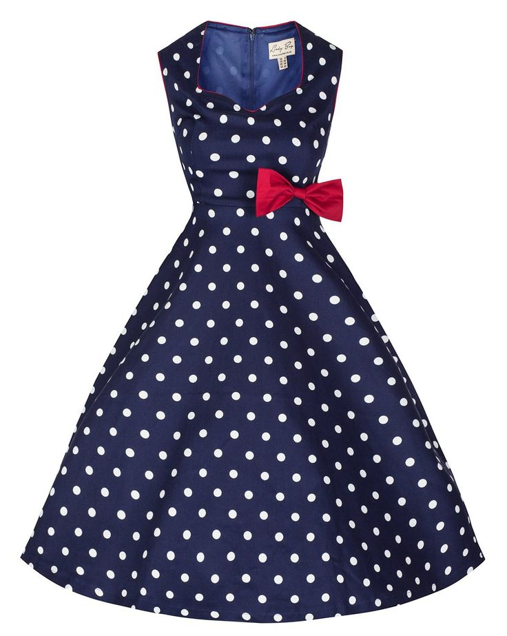 Blue and White Polka Dot Vintage Dress with Red Bow