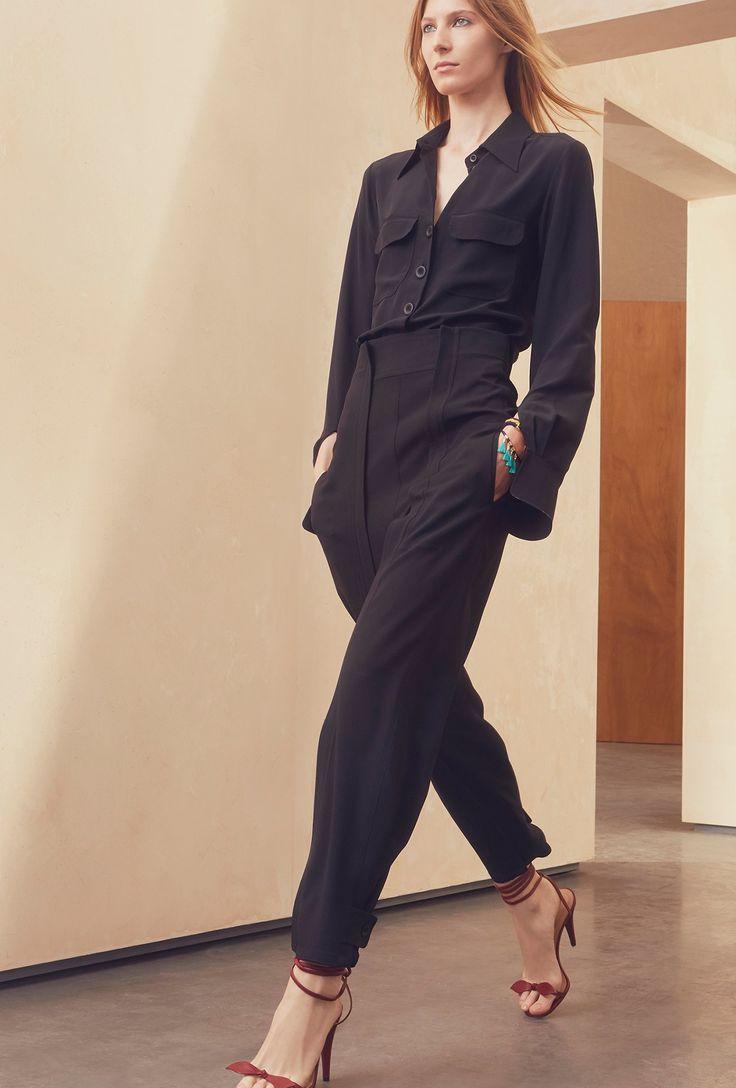 MY Rallp Lauren navy silk bouse and Stella McCartney navy track pants - Chloé Resort 2017 Collection Photos - Vogue