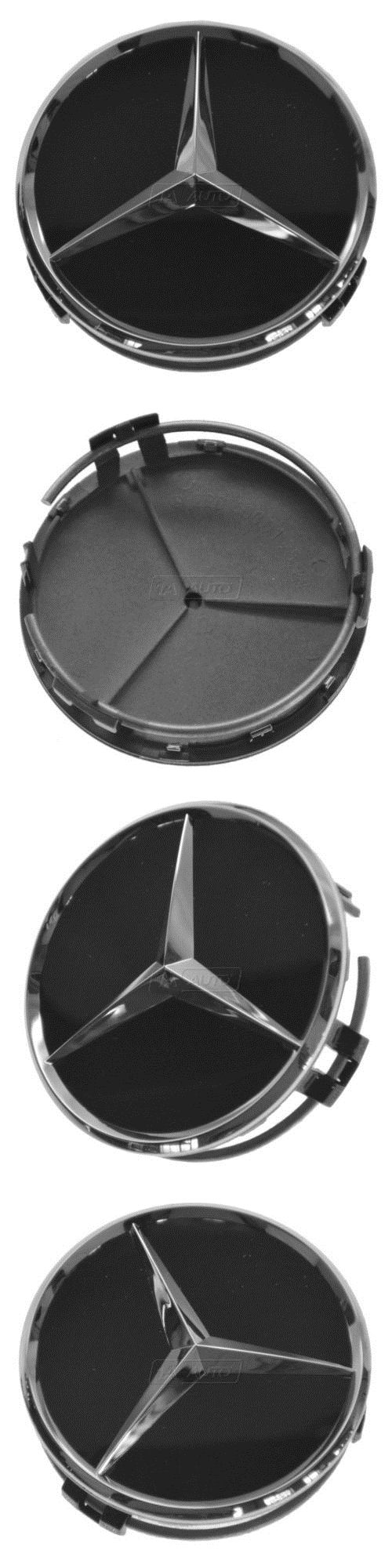 auto parts - general: Oem Raised Chrome And Black Wheel Center Cap For Mercedes Benz New BUY IT NOW ONLY: $32.9