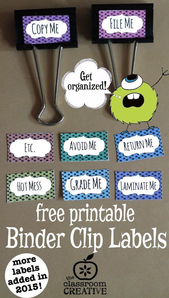 Free, printable classroom binder clip labels!