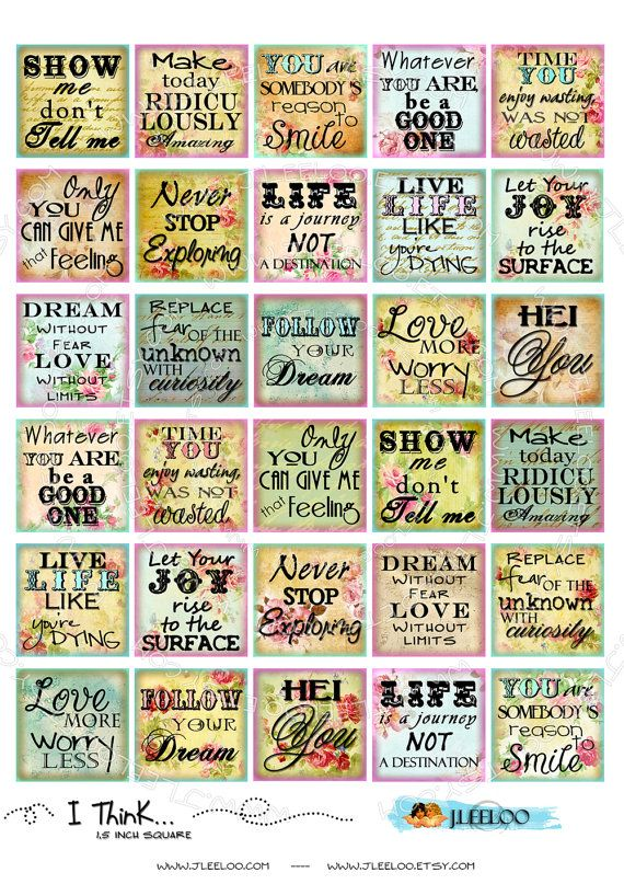 Instant Download - Digital collage sheet  I THINK images 1.5x1.5 inch phrases quote for pendants magnets glass tiles / QU254. $3.60, via Etsy.