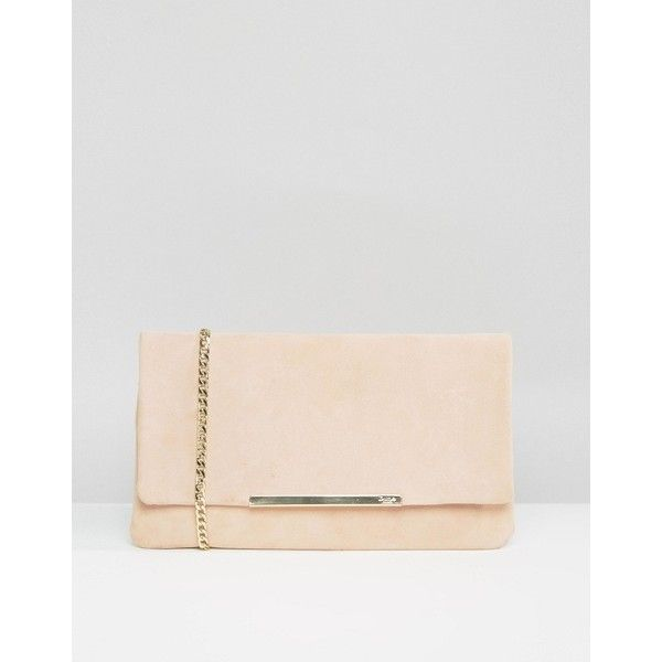 Dune Suedette Foldover Clutch Bag in Blush ($77) ❤ liked on Polyvore featuring bags, handbags, clutches, pink, foldover purse, fold-over clutches, dune purse, chain handbags and pink purse