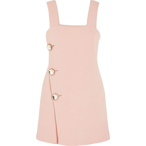 Marni Crystal-embellished crepe mini dress ($1,765) ❤ liked on Polyvore featuring dresses, vestidos, marni, pink, pink mini dress, crepe dress, short asymmetrical dress, retro dress and pink dress