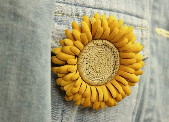 Leather gift for her, yellow leather flower, yellow brooch, leather jewelry, gerbera, autumn jewelry
