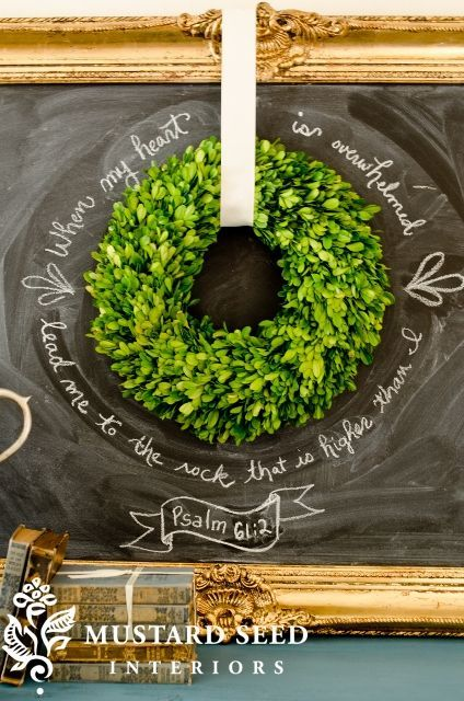 verse, chalkboard, and wreath