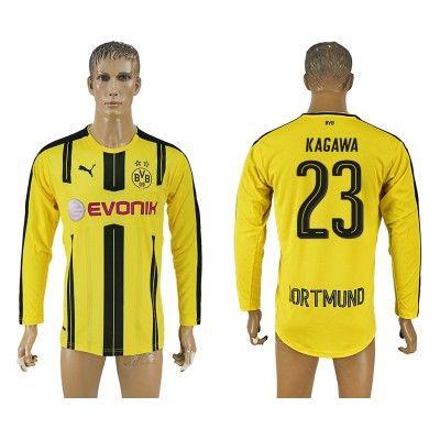 BVB Borussia Dortmund 16-17 Shinji Kagawa 23 Hjemmebanetrøje Langærmet.  http://www.fodboldsports.com/bvb-borusland-dortmund-16-17-shinji-kagawa-23-hjemmebanetroje-langermet.  #fodboldtrøjer