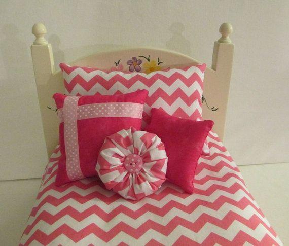 American Girl muñeca ropa de cama rosa y blanco Chevron