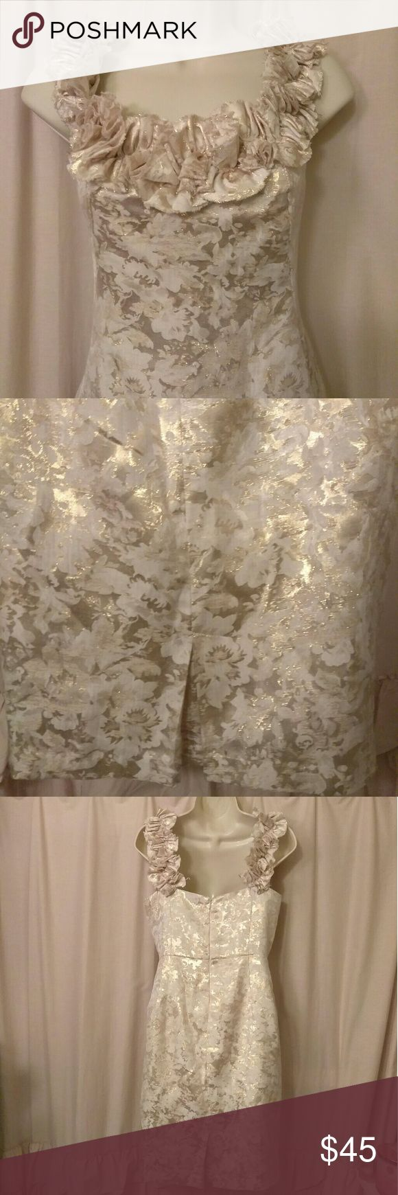 Maggy L Gold Brocade Dress Excellent condition Maggy L gold floral brocade dress with ruffle neckline and straps, great for holiday parties Maggy London Dresses