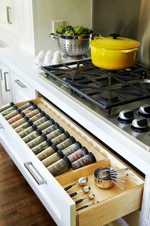 KITCHEN INSPIRATION: Organized Kitchen. Very practical idea for all your spices together.