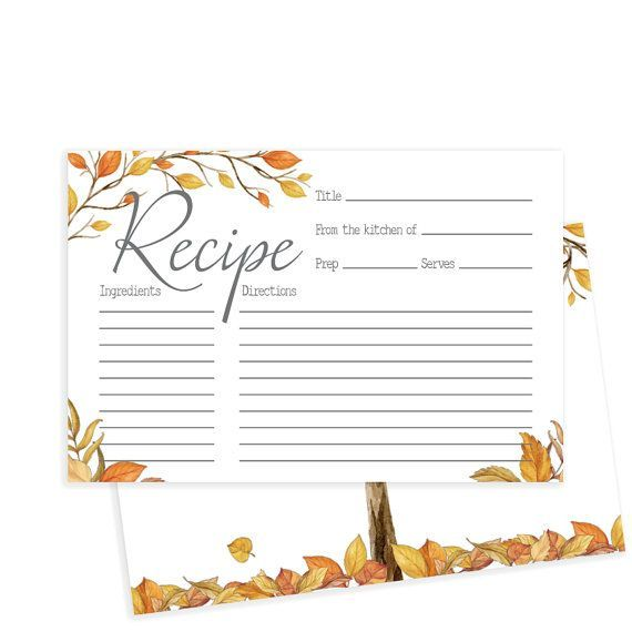 fall bridal shower recipe card autumn leaves fall bridal shower printable recipe card falling in love collection