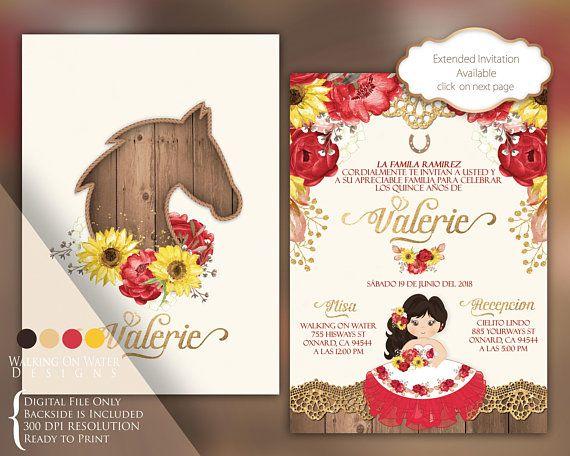 15 Anos Dresses From Mexico: Charro Invitation, Hacienda Invitation. Sunflower And Red