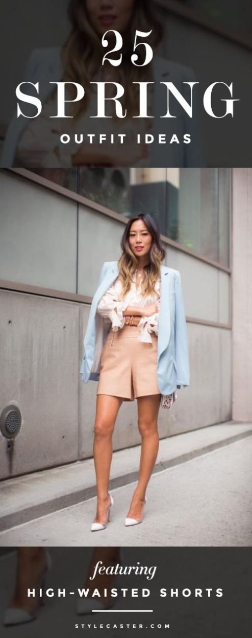 Spring Outfit Inspiration: High-Waisted Shorts - From worn-denim casual looks, to smartly-tailored pieces, and printed pairs that are sharper than a standard skirt, there are countless ways to incorporate high-waist shorts into your spring wardrobe. | StyleCaster.com