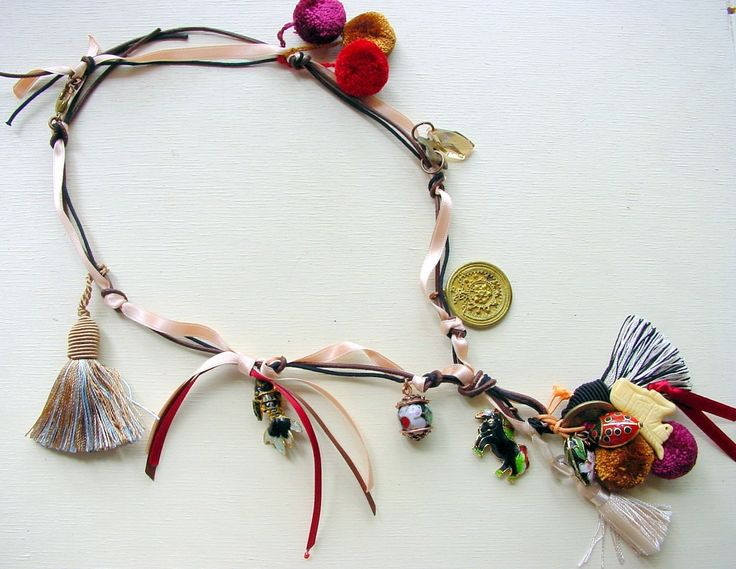 Victoria White Designs Tango Blk mam.JPG A fun and festive collection featuring pompons, ribbon, leather, wooded beads, and tassles galore! It was about Latin music, rythums, and colour.