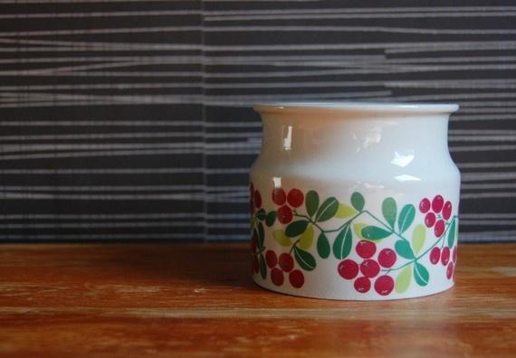 vintage arabia jam jar - lingonberry design