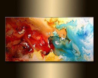 Articles similaires à Grande peinture moderne, Original Abstract Art sur toile par Osnat - sur commande - 72 « x 36 » sur Etsy