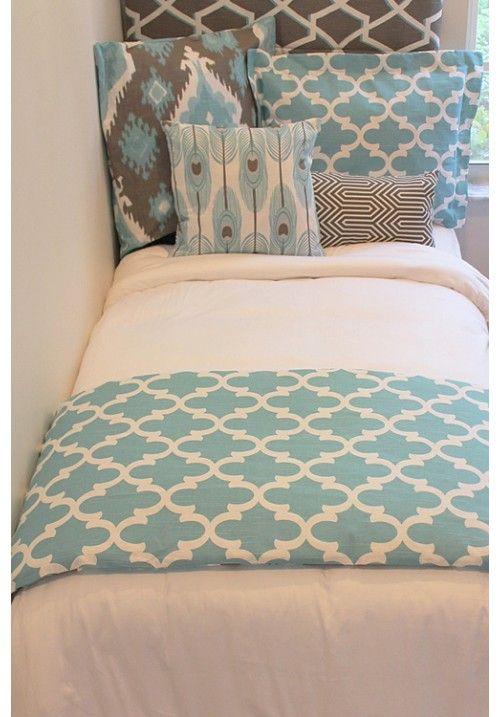 Aqua & Tan Designer Teen & Dorm Bed in a Bag 2.0 | Teen Girl Dorm Room Bedding