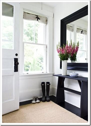 Entryway. Don't care re the paint (Benjamin Moore Cloud White CC-40), just like the space.