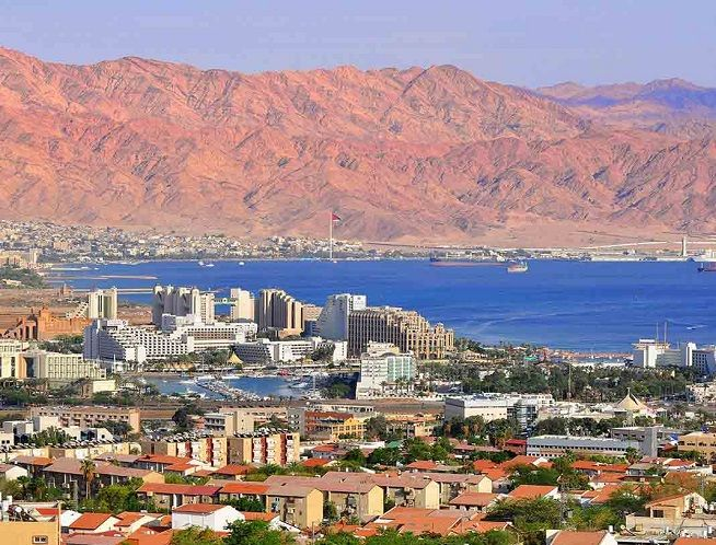 Eilat on the Israeli side and Aqaba on the Jordanian side