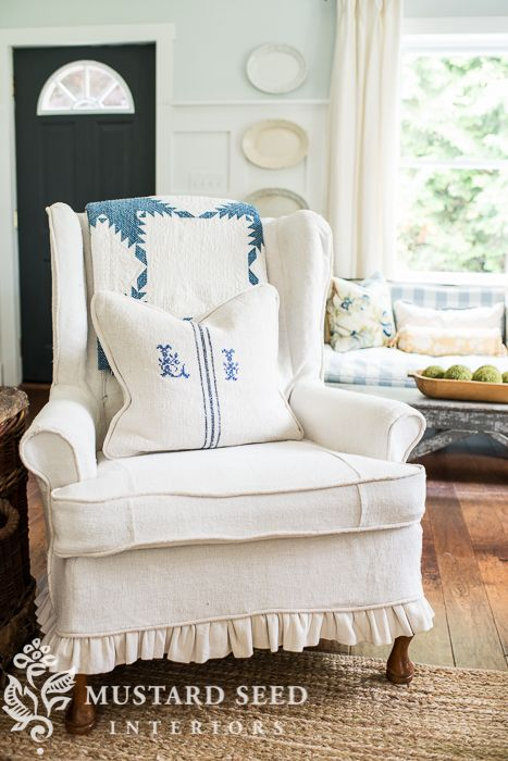 six part video series | how to make a slipcover | miss mustard seed. http://missmustardseed.com/2012/04/how-to-make-slipcovers-a-six-part-video-series/