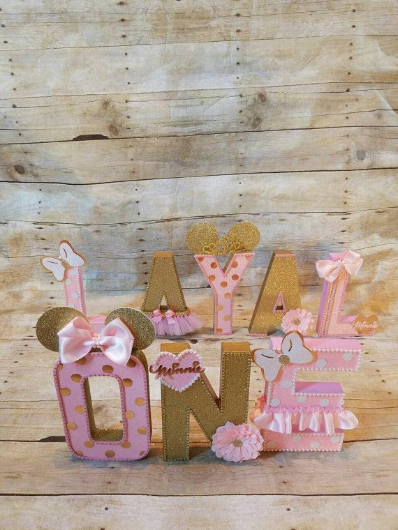 Pink and gold Minnie Mouse Party Pink and gold partyletters
