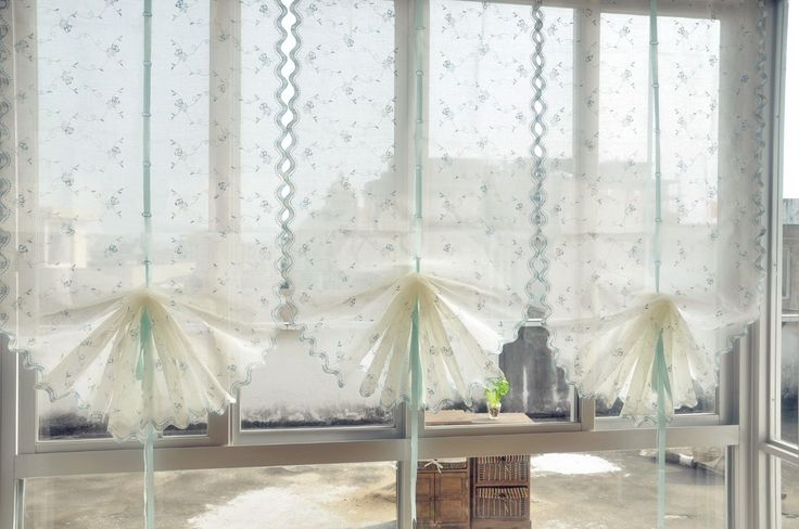 Country Style Hand Embroidered Blue Roses Balloon Shade Sheer Voile Curtain E18   eBay