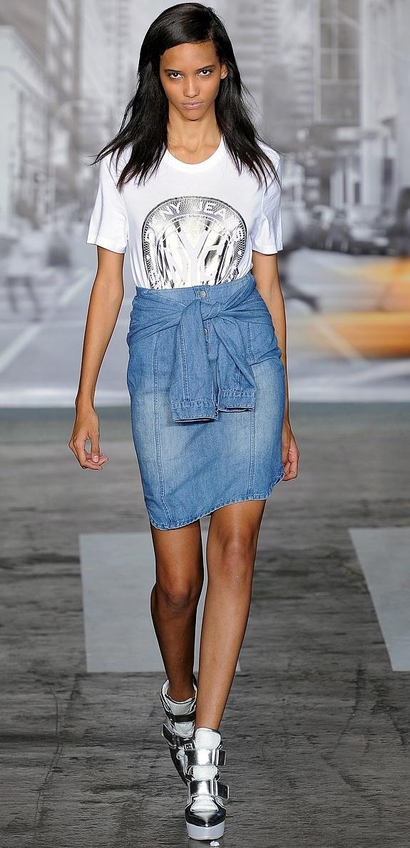 DKNY denim shirt-skirt