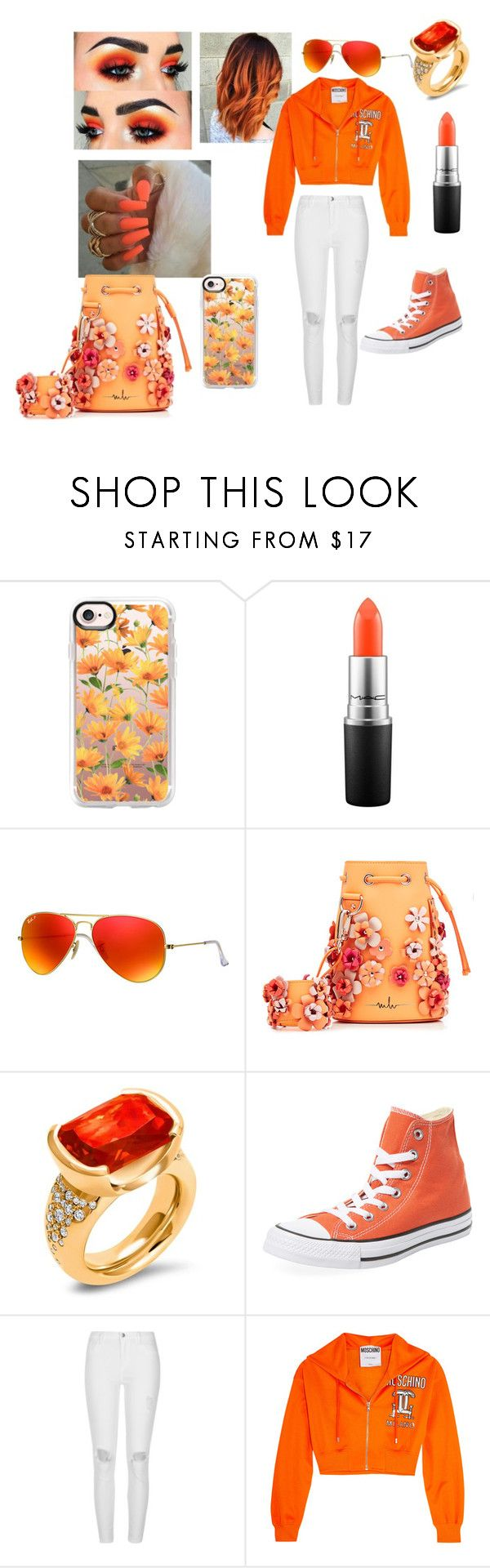 """amazing baddie outfir for high school"" by baddieoutfits ❤ liked on Polyvore featuring Casetify, MAC Cosmetics, Ray-Ban, Marina Hoermanseder, Hargreaves Stockholm, Converse, River Island and Moschino"