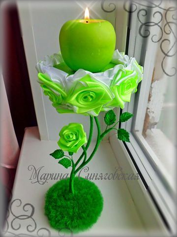Green apple candle topiary