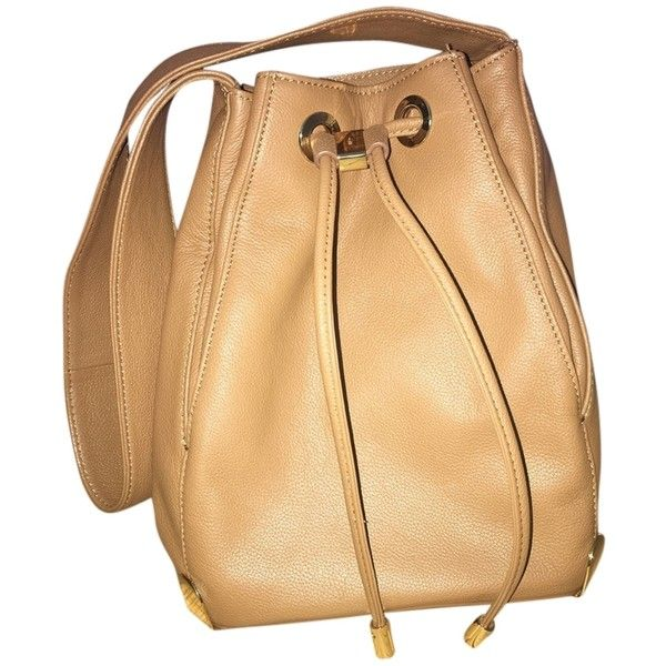 Pre-owned Vince Camuto Janet Drawstring Hobo Bag ($155) ❤ liked on Polyvore featuring bags, handbags, shoulder bags, cognac, beige handbags, pre owned purses, hobo purses, drawstring handbags and hobo bags