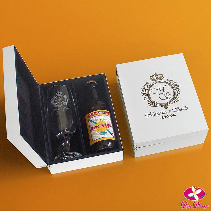 Para os padrinhos cervejeiros, confira essa dica de lembrancinha para padrinhos da Rosa Pittanga. Lindo kit de taça de chope e cerveja personalizada. Saiba mais em www.rosapittanga.com.br