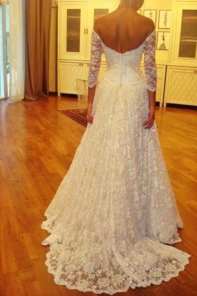 High Quality wedding dress,Lace Wedding Dress,Half-Sleeves Wedding dress,Off the…