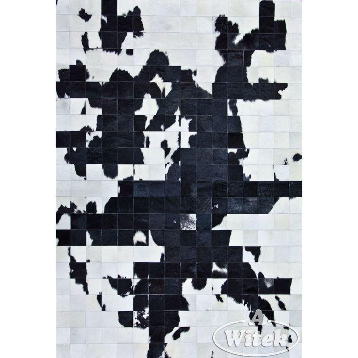 2800 Skóra bydlęca 160x220cm mapa czarna - - DYWANY Dywany nowoczesne - Sklep Dywanywitek