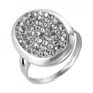 Кольцо 470 Основа - мельхиор, серебрение Вставка - хрустальное стекло