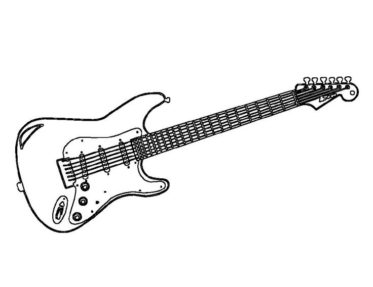 Music Electric Guitar Coloring Pages For Kids Printable