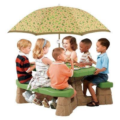 Step2 Naturally Playful Picnic Table with Umbrella, Tan