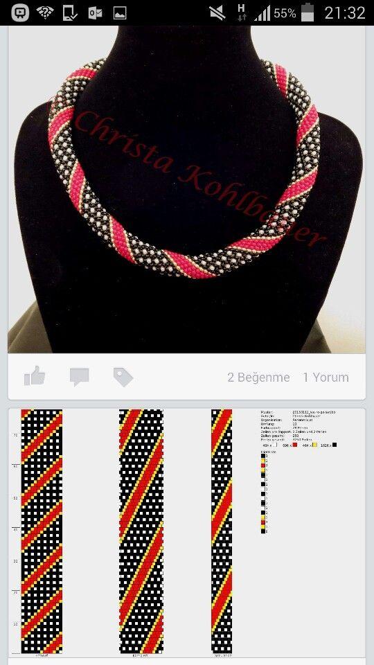 "Схема плетения жгута & Driving braid beads. Колье-жгут из бисера ""Геометрия"" - геометрический рисунок"