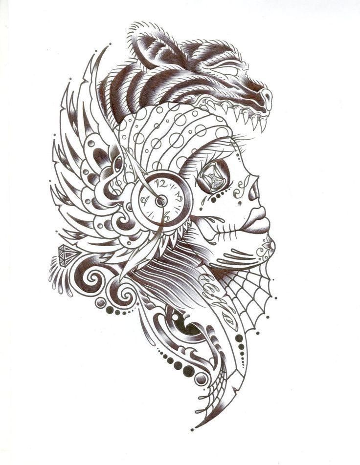143 best Sugar Skull Tattoos & Designs images on Pinterest ...