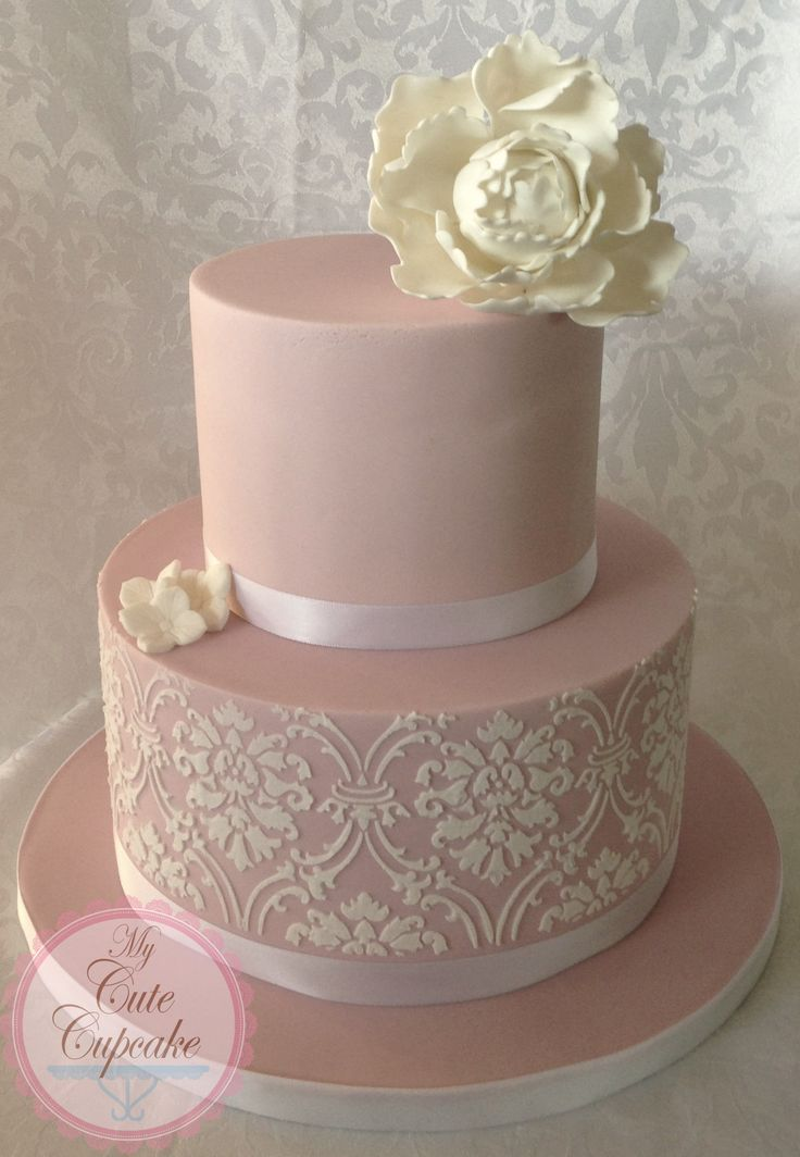 Blush Pink Damask Wedding Cake - Blush Pink Damask Wedding Cake- THIS WOULD BE PERFECT IF IS WAS JUST A LITTLE BIGGER!!!!