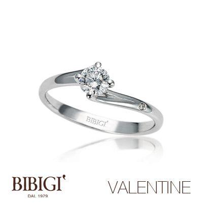 Anello #Solitario oro bianco e diamanti #Valentine #Bibigi , #Bibigì .  Un must per chi non sa rinunciare al classico solitario, anello o parure, una collezione classica dalla montatura delicata ma curata nei più piccoli particolari.