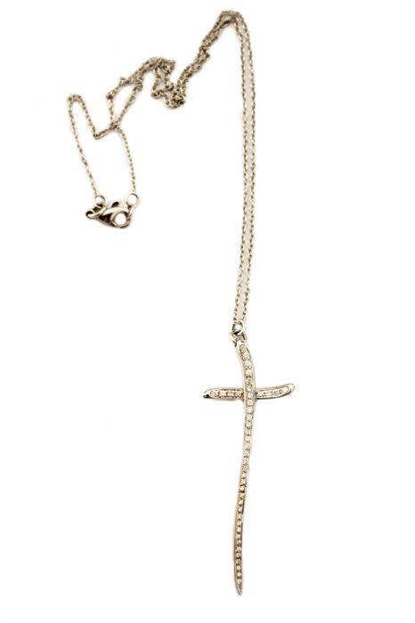 Cross in 18 kt wit goud met diamanten 0.63 ct door Rinaldo Gavello - keten 41 cm cross lengte 4 cm  Keten en Kruis hanger met diamanten door Rinaldo Gavello. Keten van 41 cm cross lengte 4 cm 7.8 g  EUR 290.00  Meer informatie