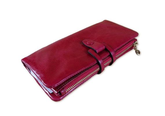 Ladies leather wallet wallet for women orange di versionwallet, $58.00