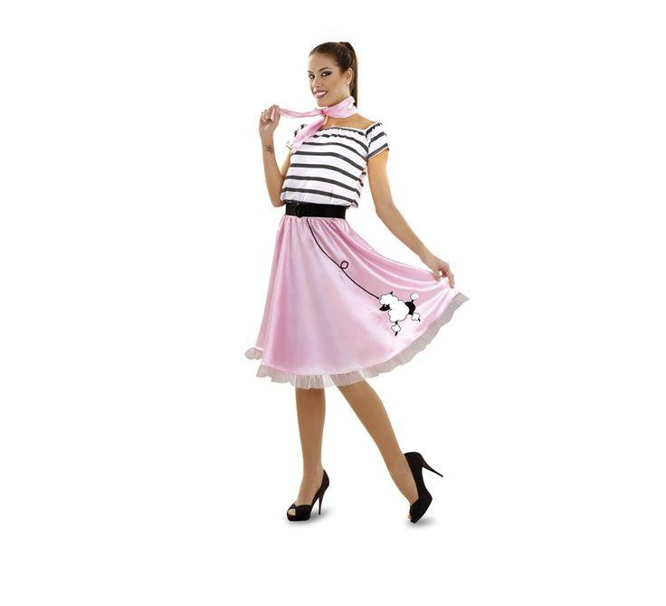 Disfraz de Chica de los años 50 talla M-L. Talla standar 38/42. Incluye top, falda, cinturón y pañuelo.